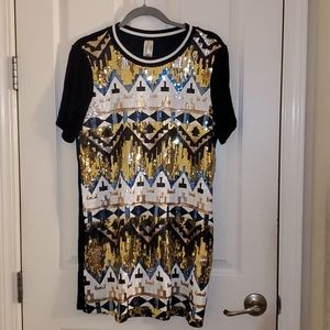 Sequins Tribal Print Shirt Dress